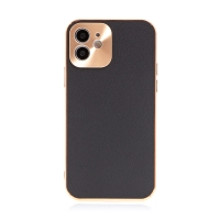Kryt pro Apple iPhone 12 - kožený + pokovený povrch - černý / měděný