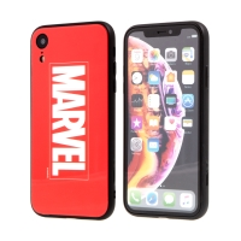 Kryt MARVEL pro Apple iPhone Xr - sklo / guma - červený