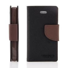 Pouzdro Mercury Fancy Diary pro Apple iPhone 4 / 4S, stojánek a prostor pro platební karty - černé hnědé