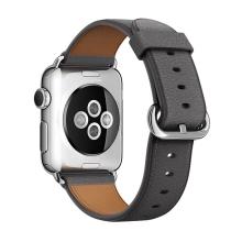 Řemínek pro Apple Watch 44mm Series 4 / 5 / 42mm 1 2 3 - kožený - šedý
