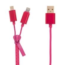 2v1 Synchronizační a nabíjecí kabel Lightning a micro USB pro Apple iPhone / iPad / iPod a další zařízení - zip - růžový - 90cm