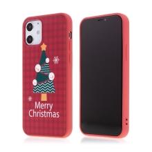 Kryt pro Apple iPhone 12 / 12 Pro - vánoční - gumový - červený / stromeček