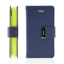 Vyklápěcí pouzdro - peněženka Mercury pro Apple iPhone 4 / 4S - s prostorem pro umístění platebních karet - modro-zelené
