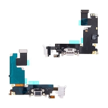 Napájecí a datový konektor s flex kabelem + audio konektor jack + GSM anténa pro Apple iPhone 6 Plus - bílý - kvalita A+