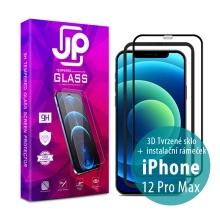 Tvrzené sklo JP pro Apple iPhone 12 Pro Max - Case Friendly + aplikátor - černý rámeček