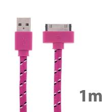 Synchronizační a nabíjecí kabel s 30pin konektorem pro Apple iPhone / iPad / iPod - tkanička - plochý růžový - 1m
