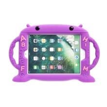 Pouzdro pro děti pro Apple iPad Air 1 / Air 2 / 9,7 (2017-2018) - rukojeť / stojánek - robot - silikonové - fialové