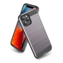 Kryt pro Apple iPhone 12 / 12 Pro - broušený povrch - plastový / gumový - černý / šedý