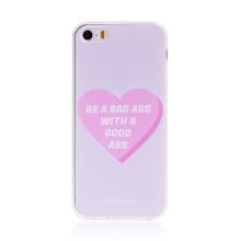 """Kryt BABACO pro Apple iPhone 5 / 5S / SE - gumový - srdce """" zlobivá holka"""""""