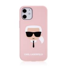 Kryt KARL LAGERFELD Head pro Apple iPhone 12 mini - hlava Karla - silikonový - růžový