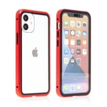 Kryt pro Apple iPhone 12 mini - magnetické uchycení - sklo / kov - 360° ochrana - průhledný / červený