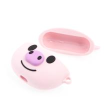 Pouzdro / obal pro Apple AirPods Pro - karbonová textura - silikonové - růžové prasátko