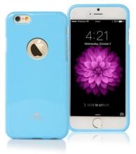 Kryt Mercury pro Apple iPhone 6 Plus / 6S Plus gumový s výřezem pro logo - jemně třpytivý - světle modrý