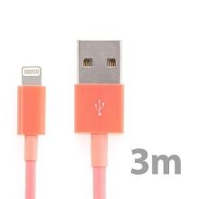 Synchronizační a nabíjecí kabel Lightning pro Apple iPhone / iPad / iPod - silný - lososový - 3m