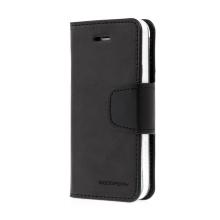 Vyklápěcí pouzdro Mercury Sonata Diary pro Apple iPhone 5 / 5S / SE se stojánkem a prostorem na osobní doklady - černé