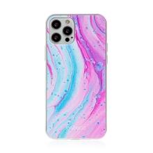 Kryt BABACO pro Apple iPhone 12 / 12 Pro - gumový - mramor - růžový / modrý