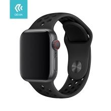 Řemínek DEVIA pro Apple Watch 44mm Series 4 / 5 / 42mm 1 2 3 - sportovní - silikonový - černý
