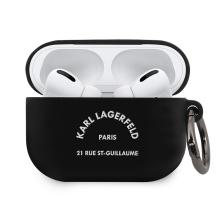 Pouzdro KARL LAGERFELD pro Apple AirPods Pro - Karlova adresa - silikonové - černé