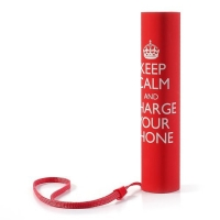 Stylová mini externí baterie 3000mAh + poutko na ruku - KEEP CALM and CHARGE YOUR PHONE - červená