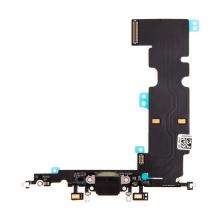 Napájecí a datový konektor s flex kabelem + GSM anténa + mikrofony pro Apple iPhone 8 Plus - černý - kvalita A+