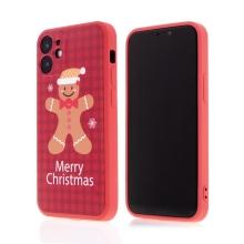 Kryt pro Apple iPhone 12 mini - vánoční - gumový - červený / perníkový panáček