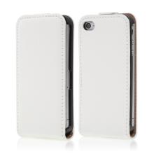 Kryt / pouzdro pro Apple iPhone 4 / 4S - pravá kůže - bílý