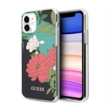 Kryt GUESS Flower Shiny N.1 pro Apple iPhone 11 - plastový - květiny