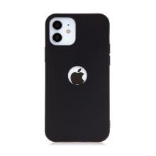 Kryt FORCELL Soft pro Apple iPhone 12 / 12 Pro - výřez pro logo - gumový - černý