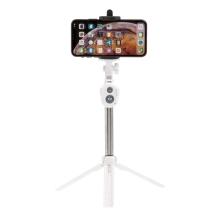 Selfie tyč / monopod + stativ / tripod - Bluetooth spoušť - plastová - bílá