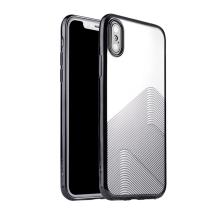 Kryt SULADA pro Apple iPhone Xs Max - lesklé vlnky - gumový - průhledný / černý