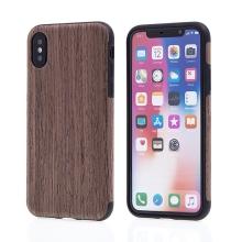 Kryt pro Apple iPhone X - gumový - hnědý / motiv dřeva dub tmavý