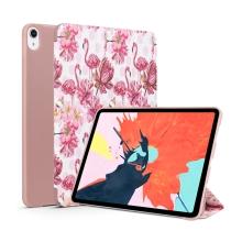 """Pouzdro pro Apple iPad Pro 11"""" - umělá kůže / silikon - funkce chytrého uspání - plameňáci"""
