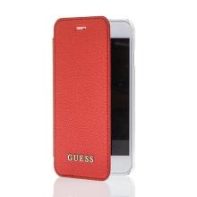 Pouzdro GUESS IriDescent Book pro Apple iPhone 6 / 6S / 7 / 8 - umělá kůže / plastové - červené / průhledné