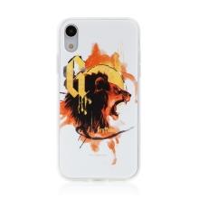 Kryt Harry Potter pro Apple iPhone Xr - gumový - lev Nebelvíru - bílý