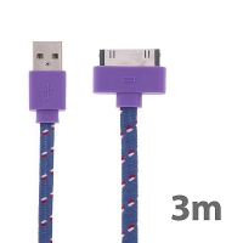 Synchronizační a nabíjecí kabel s 30pin konektorem pro Apple iPhone / iPad / iPod - tkanička - plochý fialový - 3m