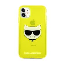 Kryt KARL LAGERFELD Choupette pro Apple iPhone 11 - gumový - žlutý - třpytky