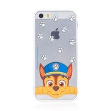 """Kryt """"Tlapková patrola"""" pro Apple iPhone 5 / 5S / SE - gumový - Chase - průhledný"""