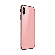 Kryt SULADA pro Apple iPhone Xs Max - kov / sklo - růžový