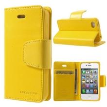 Vyklápěcí pouzdro Mercury Sonata Diary pro Apple iPhone 4 / 4S se stojánkem a prostorem na osobní doklady - žluté