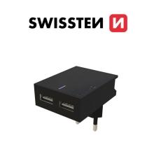 Nabíječka / EU adaptér SWISSTEN - 2x USB - 15W - černá