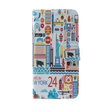 Pouzdro pro Apple iPhone 6 Plus / 6S Plus - stojánek a prostor pro umístění platebních karet - barevný New York