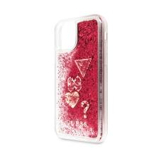 Kryt GUESS Liquid Glitter pro Apple iPhone 11 - plastový - růžové třpytky