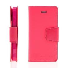 Vyklápěcí pouzdro Mercury Sonata Diary pro Apple iPhone 5 / 5S / SE se stojánkem a prostorem na osobní doklady - růžové