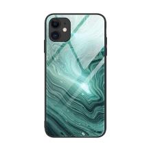 Kryt pro Apple iPhone 12 / 12 Pro - skleněný / gumový - zelený malachit