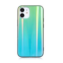 Kryt pro Apple iPhone 12 mini - barevný přechod a lesklý efekt - gumový / skleněný - mátově zelený