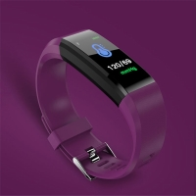 Sportovní fitness náramek - tlakoměr / krokoměr / měřič tepu - Bluetooth - vodotěsný - fialový