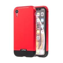 Kryt LUPHIE pro Apple iPhone Xr - kov / sklo - červený / černý