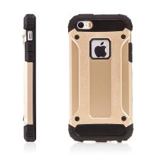 Kryt pro Apple iPhone 5 / 5S / SE - plasto-gumový / antiprachové záslepky - zlatý (gold)