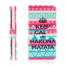 Pouzdro pro Apple iPhone 6 / 6S - prostor na doklady + integrovaný stojánek - Keep Calm And Hakuna Matata