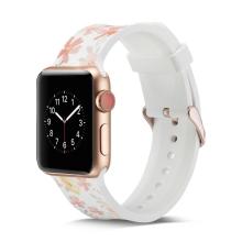 Řemínek pro Apple Watch 44mm Series 4 / 5 / 42mm 1 2 3 - silikonový - elegantní - květiny